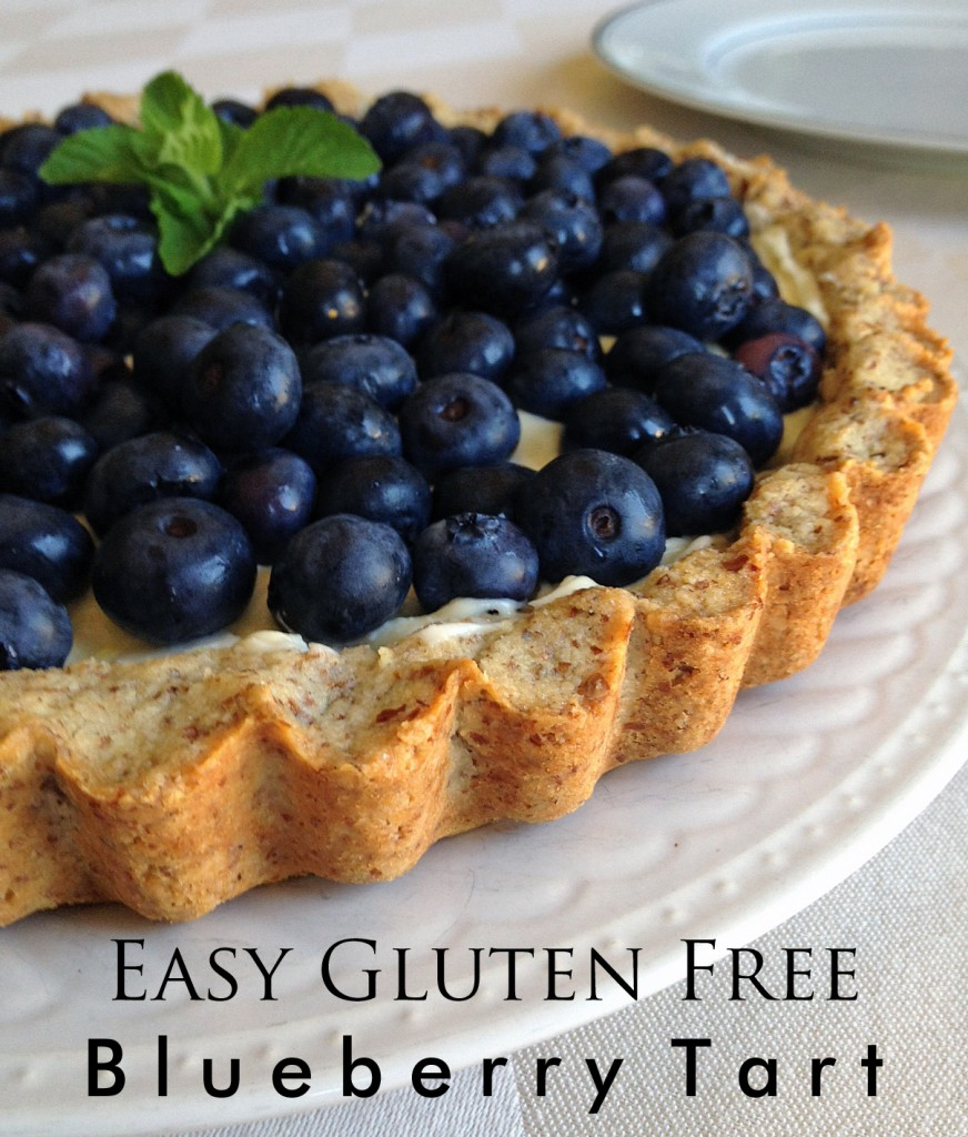 Easy Gluten Free Blueberry Tart with Almond Crust.