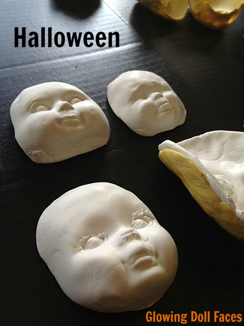 Glowing doll faces for Halloween