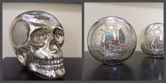 Mercury glass tends to be expensive but I got these at Big Lots. The Skull was $8 and the balls were $5 each.